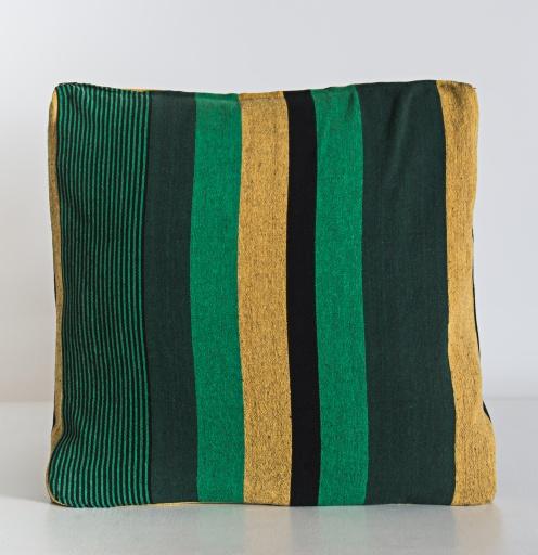 Image of  | Handloom Cushion Cover NCC006 - Cotton Green Stripe