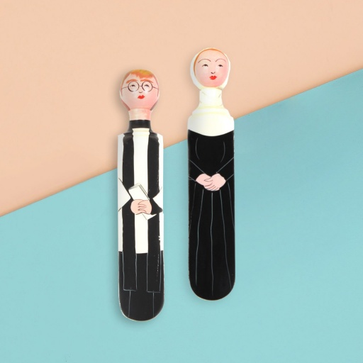 Image of Wedgie | Door Stoppers - Heavenly Pack (John & Mary) Wood