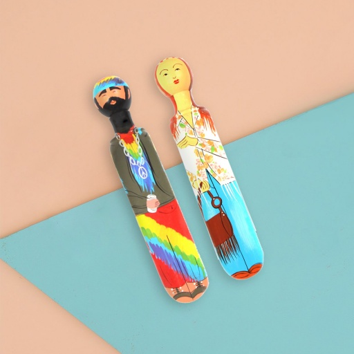 Image of Wedgie | Door Stoppers - Hippy Pack (Janis & Jerry) Wood